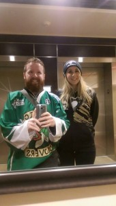 Jamie and Marie-Therese selfie in a Lobby in Pittsburgh, USA