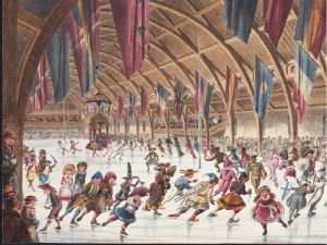 Fancy Ball at the Victoria Rink, 1865-66. Montreal'sVictoria Rink is where the first organized game of modern ice hockey was played on March 3, 1875. It was located between Stanley and Drummond Sts., just north of René-Lévesque Blvd.